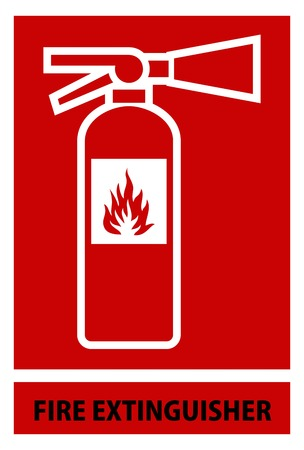 disaster prevention: fire extinguisher sign and symbol
