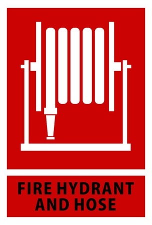fire hose sign symbol vector on red isolated background Illustration