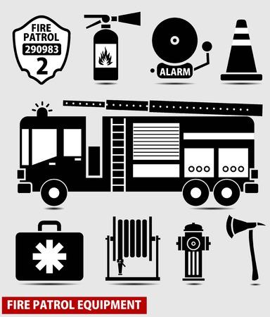 FIRE ENGINE: technique de protection incendie de silhouette noire Illustration