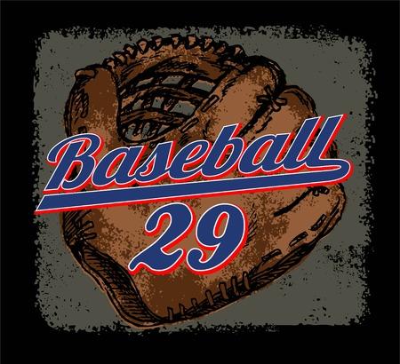 cleats: baseball gloves grunge vector or illustration sport print
