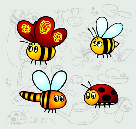 comic wasp: insect and small bugs cartoon