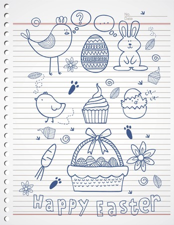 easter story doodle on paper Vector