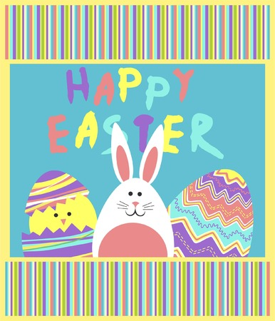 funny easter vector with colorful