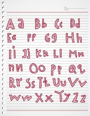 kiddies: kiddies alfabeto Doodle y del de la raya Vectores