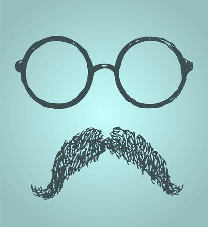 sideburn: Glasses and mustache vintage illustration