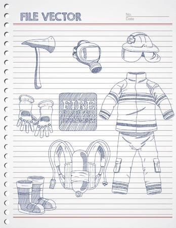 occupational risk: FIRE FIGHTER EQUIPMENT DOODLE