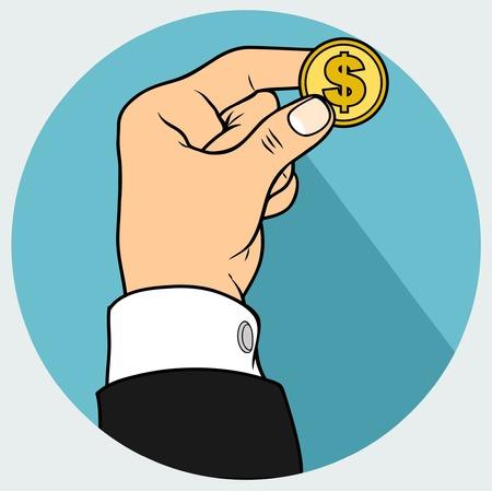 hand and dolar coin Illustration