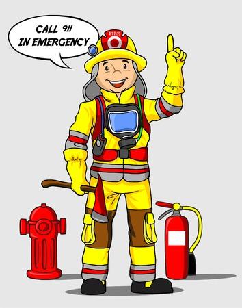 bombero de rojo: Linda bombero ilustración vectorial