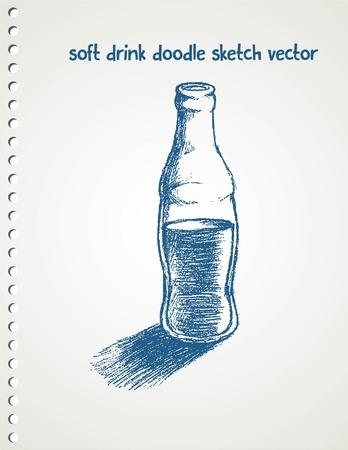 soda pop: Doodle style soda bottle illustration in vector format