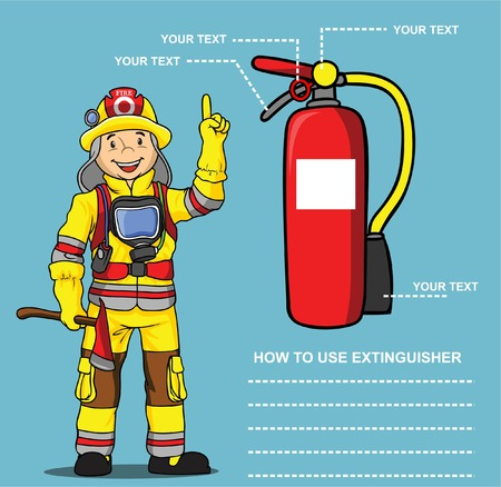 fire extinguisher sign: FIREMAN PRESENTATION EXTINGUISHER