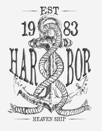 ancre marine: ancrage et doodle vecteur de corde t�s d'impression Illustration