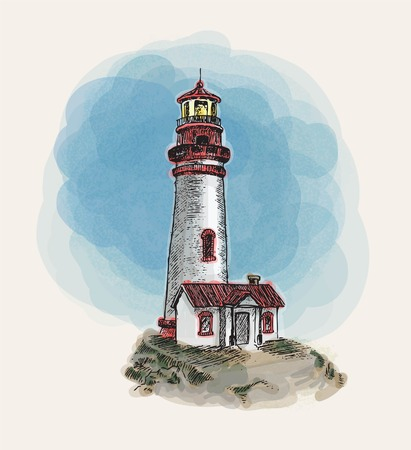 anchor and light house doodle vector Vetores