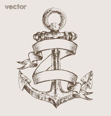 anchor: anchor print tees vector