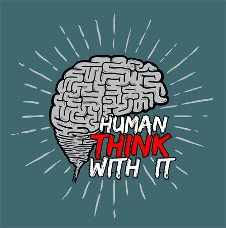 think with brain as print or background and illustration vector Ilustração