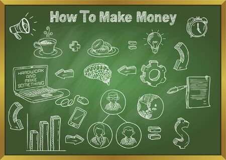 how to make money doodle concept on blackboard