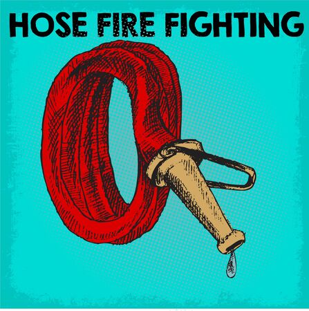 hose fire fighting doodle icon