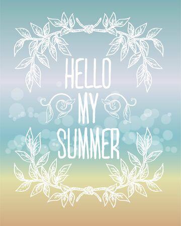 hello summer with wreath frame Ilustração