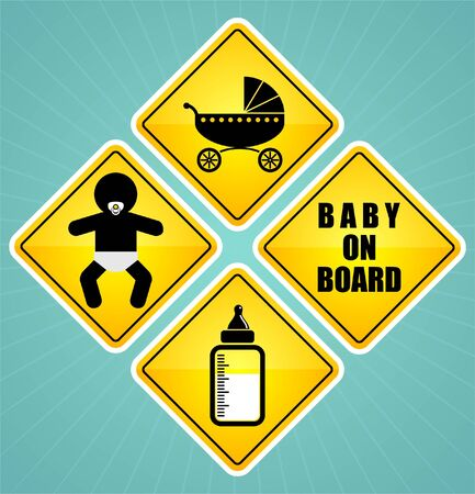 baby on board sign element set