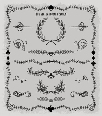 floral ornament set vector Banque d'images - 140320929