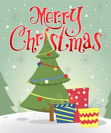 greeting card with christmas tree or vector art