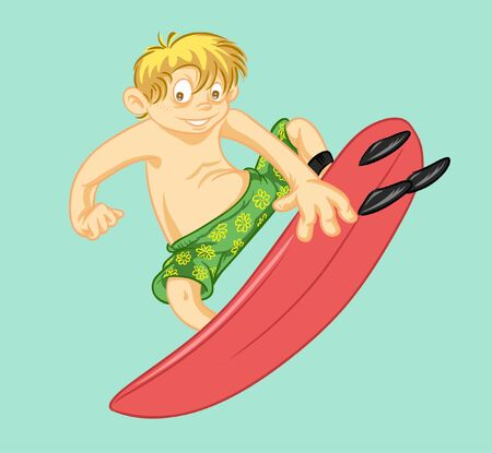 kid surfing in summer holiday