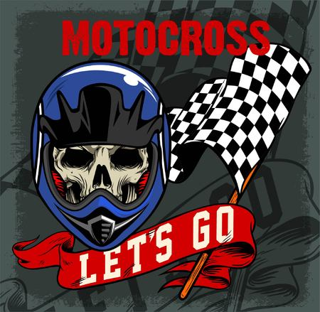 MOTOCROSS SKULL AND VINTAGE RACING FLAG AND RIBBON
