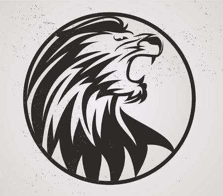 Lion Head Mascot Vector and Circle Isolated Ilustração