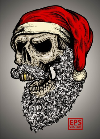 Hand-drawn skull wearing santa claus hat with cool color vector and editable