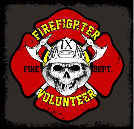 fire brigade with skull face or cool design or print tees and background