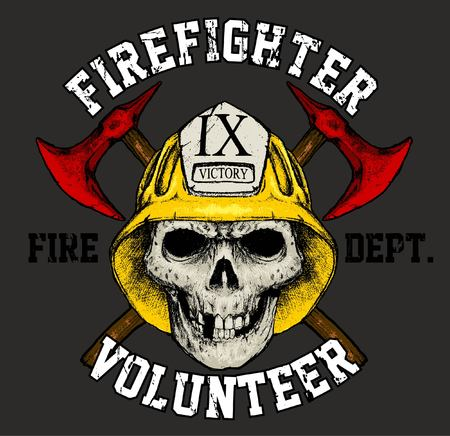 Fire brigade with skull face grunge print