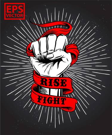 Fist on old ribbon vector Ilustracja