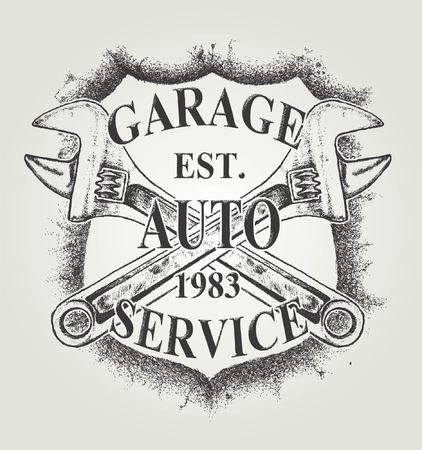 AUTO SERVICE or grunge vintage garage logo