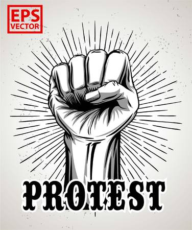 paper punch: HAND PROTEST OR VECTOR ICON