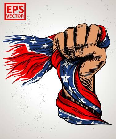 HAND FIST OLD REBEL FLAG OR VINTAGE ILLUSTRATION