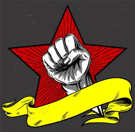 rise up the power or hand protest with hand inside star Illustration
