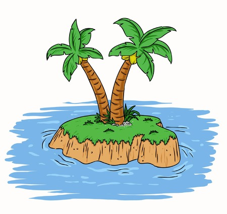 Illustration of a tropcial island on summer