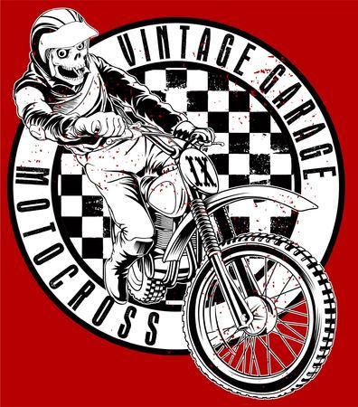throttle: skull and vintage motorcycle garage design