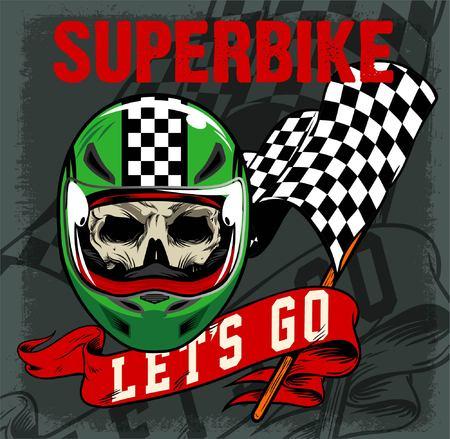 SUPER BIKE SKULL AND VINTAGE RACING FLAG AND RIBBON
