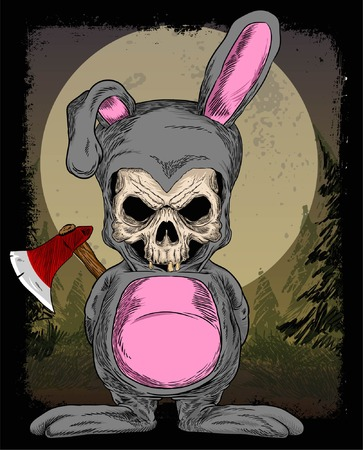 SKULL RABBIT AND HALLOWEN COSTUM WITH COLOR PRINT AND BACKGROUND Illustration