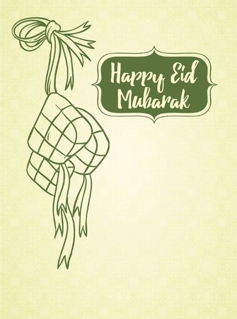 伊斯兰伟大的日子或节日背景-开斋节穆巴拉克doddle艺术