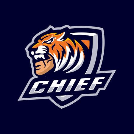 Chief head mascot logo