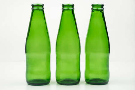 Green bottles with white background