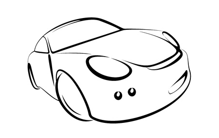 contours: vector car black colour on white background