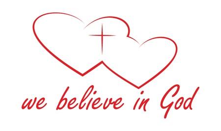believe: logo rojo sobre un fondo blanco. creemos en Dios.