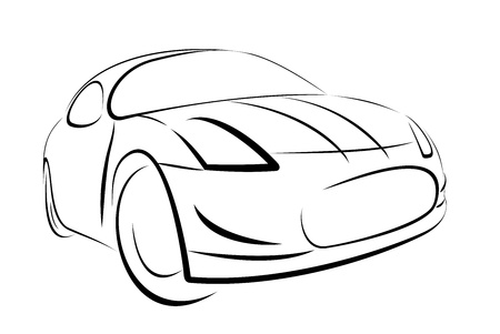 Vector car black colour on white background