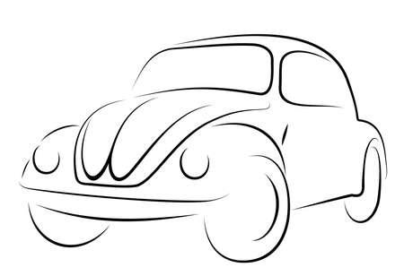 escarabajo: Vector el color del coche negro sobre fondo blanco Vectores
