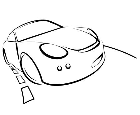 driving a car: Vector el color del coche negro sobre fondo blanco Vectores