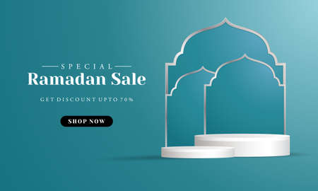 Sales promotion banner for ramadan sale with circle pedestal, plinth, pillar or display stage.