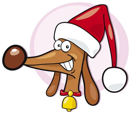 dog in santa claus cap