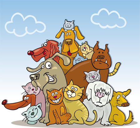 large group of animals: group of cats and dogs Illustration